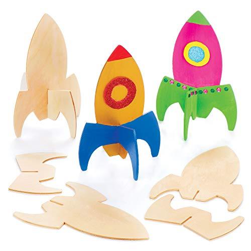 Baker Ross Holzraketen zum Aufstellen für Kinder als Bastel- und Deko-Idee für Jungen und Mädchen (6 Stück)