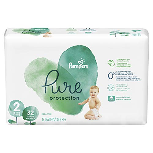 Price comparison product image Diapers Size 2,  32 Count - Pampers Pure Protection Disposable Baby Diapers,  Hypoallergenic and Unscented Protection,  Mega Pack (Old Version)
