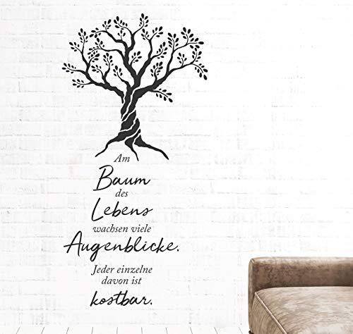 tjapalo® pkm537 Wandtattoo Sprüche Zitate am Baum des Lebens wachsen viele Augenblicke, Größe: H80xB36cm, Farbe: schwarz