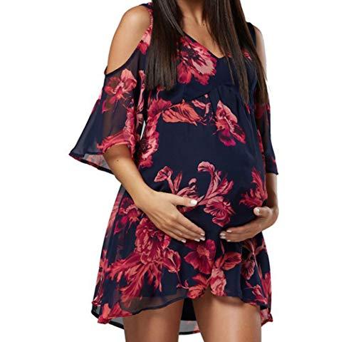 Gagacity Mama Kleid Schwanger Umstandskleid Sommer Mutterschaftskleid Fotografie Umstandsmode Blumenkleid V Ausschnitt Kurzarm Casual Elegant Boho Beachwear/M