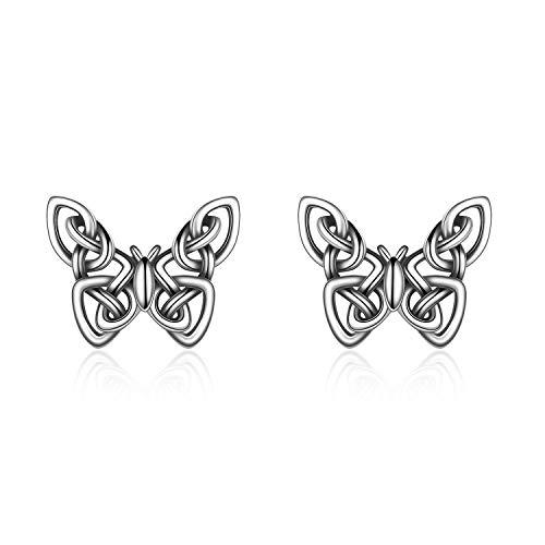 Butterfly Earrings/ Astronaut Earrings/ Snake Earrings/ Flower of Life/ Hummingbird Earrings 925 Sterling Silver Origami Celtic Knot Butterfly Earrings for Women Butterfly Gifts for Women