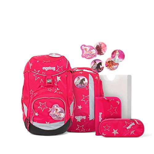 Ergobag Pack CinBärella, ergonomischer Schulrucksack, Set 6-teilig, 20 Liter, 1.100 g, Pinke Sterne
