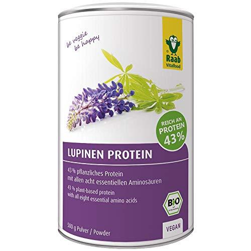 Raab Vitalfood Bio Lupinen-Protein, Protein-Pulver mit 43% pflanzlichem Eiweiß, Eiweiß-Pulver, vegan, glutenfrei, leicht zu dosieren, 500 g Lupinenmehl, 1er Pack (500 g)