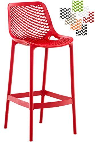 CLP Taburete Air Fabricado en Plástico I Taburete de Exterior y/o Interior I Silla Alta de Terraza con Resplado & Reposapiés I Color: Rojo