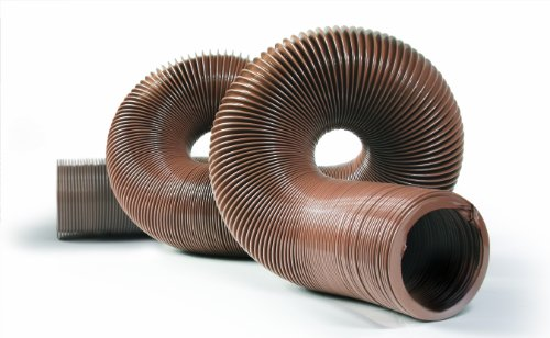 """Camco Durable High Tensile Strength Vinyl Sewer Hose with Steel Wire Core – 15' Hose with 15 mils of HTS Vinyl, Great for Year Round Rving Compresses to 26"""" for Simple and Easy Storage, Brown (39661)"""