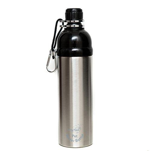 Long Paws Pet Water Bottle, 750 ml, Silver, Large, Lick 'n Flow Dog Bottle