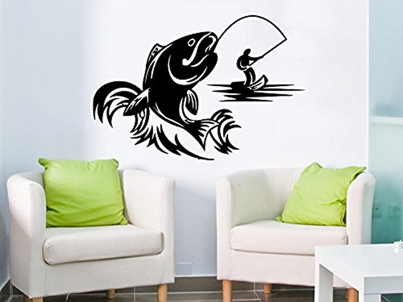 Fishing Male Hobbies Wall Decal Fish Nibble Wall Decals Vinyl Stickers Teens Nursery Baby Room Home Decor Art Bedroom Design Interior C479