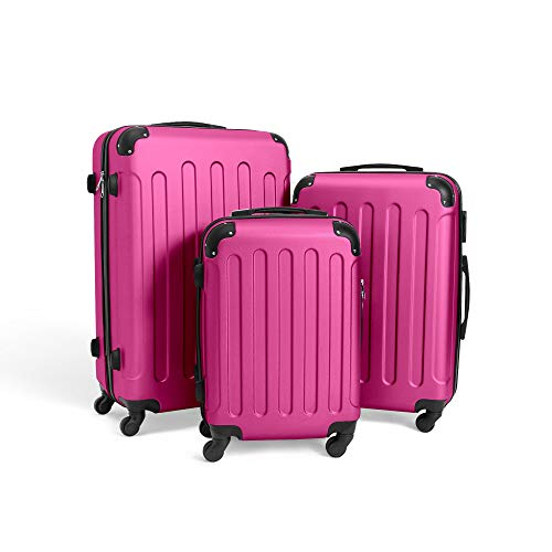 Todeco - Juego de Maletas, Equipajes de Viaje - Material: Plástico ABS - Tipo de Ruedas: 4 Ruedas de rotación de 360 ° - 51 61 71 cm, Fucsia, ABS, Esquinas protegidas