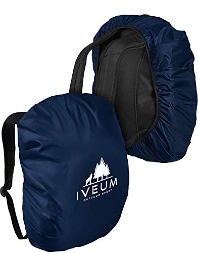 IVEUM *WINTERANGEBOT* 2 Stück Rucksack Regenschutz – Verschiedene Größen an Rucksack Regenüberzug – Rucksackschutz in 18 l – 70 l (S (18l-25l))