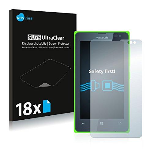 Savvies 18x Schutzfolie kompatibel mit Microsoft Lumia 435 Bildschirmschutz-Folie Ultra-transparent