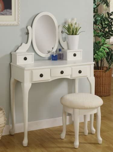 2pc Vanity Set with Stool Off in Max 41% OFF White Finish New mail order