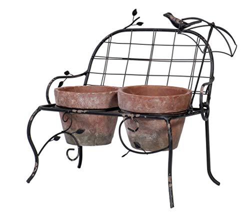 Vintage Weathered Metal Garden Bench Planter Holder with 2 Terra Cotta Plant Pots