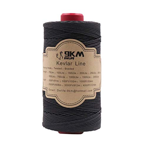 Black Braided Kevlar String 500lb 500Ft Fishing Assist Line High Strength Tensile Heat Resistant for Paracord Cord Ultralight Tactical Survival Rope Kite Flying Outdoor (500Lb-500Ft / 152M)