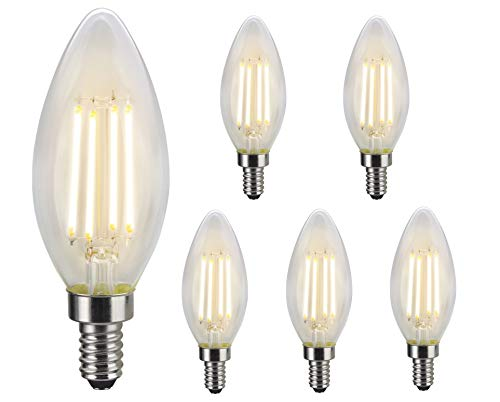 LIT-PaTH LED Vintage Light Bulb, Edison Light, B11 Candelabra, CRI90+, 5.5W (60W Equivalent) 500 Lumen, Dimmable, 2700K, with E12 Base for Chandelier, 6-Pack