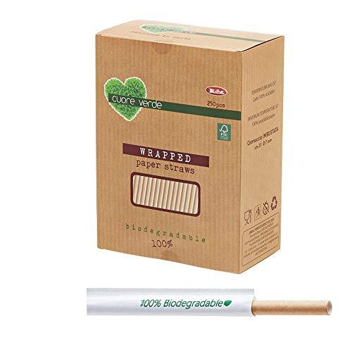 LEONE Confezione da 250 Cannucce Kraft Imbustate Bio, 21 cm, Carta, Avana, x Diametro: 7 mm