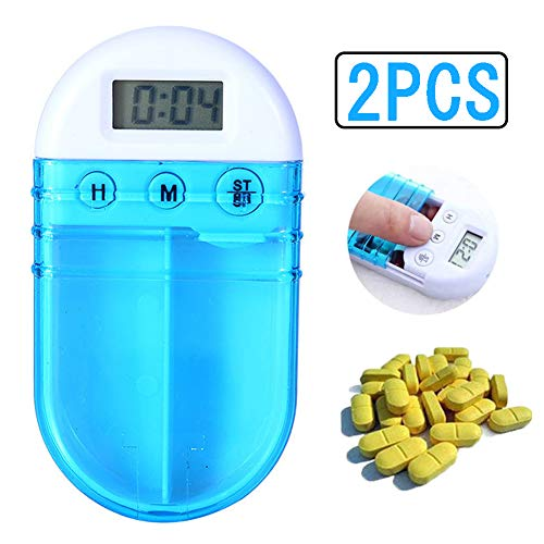 Elektronische Getimede Pillendoos Met 2 Roosters, Smart Pill Case Reminder Dispenser Organizer Mini Portable Om Medicatie Voor Ouderen/Gehandicapten Vast Te Houden