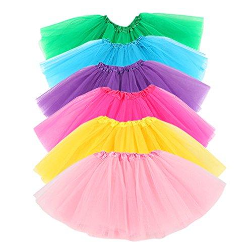 Hikong 6 Pcs Tutu Rock Ballettrock Mädchen Tütü Minirock 3 Schichten Tüll Tüllrock Prinzessin Regenbogen Röckchen Tanzkleid mit 6 verschiedenen Farben, Mehrfarbrig, Asien S