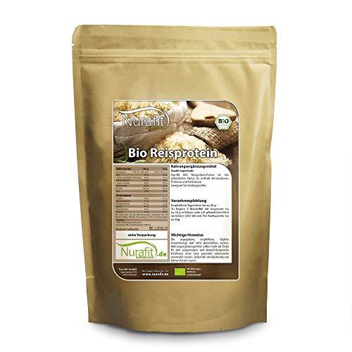 Nurafit BIO Reisprotein-Pulver, Vegan Superfood ohne Zusatzstoffe, rein natürlich, zertifizierte Spitzenqualität nach DE-001-ÖKÖ, Eiweiß für Sport und Fitness, 1000g / 1kg, 86% Proteingehalt