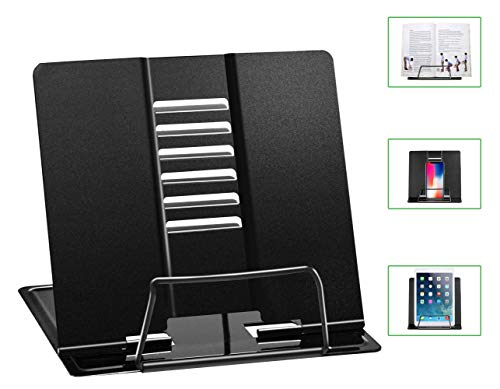 Luckindom Book Stand, Cookbook Holder with 6 Adjustable Angles and Paper Page Clip, Sturdy and Smooth Metal Bookstand for Reading Recipe, Textbook, Document, Music Book, Laptop, Foldable (Black)