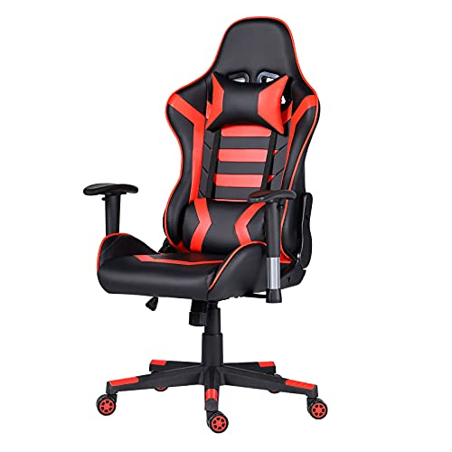 Gaming Chair Computer Game Chair - Ergonomic Office Chairs Adjustable Swivel Multifunctional Desk Chair with Headrest and Lumbar Support Video Game Chair (Black & Red)