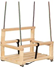 Columpio de madera para niños mayores de 36 meses con barrera de seguridad y correa