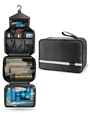 Toiletry Bag for Men & Women | Large Toiletry Bags for Traveling | Hanging Compact Hygiene Bag with 4 Compartments | Waterproof Bathroom Shower Bag(Black)