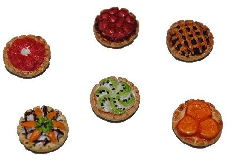 alles-meine.de GmbH Miniatur - 6tlg. Set Torte - Törtchen Kuchen Torten Gebäck Obsttorte Obstkuchen Früchte / Puppenstube - Maßstab 1:12