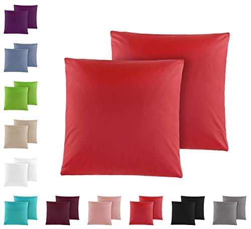Doppelpack Baumwolle Renforcé Kissenbezug, Kissenbezüge, Kissenhüllen 80x80 cm in vielen modernen Farben rot
