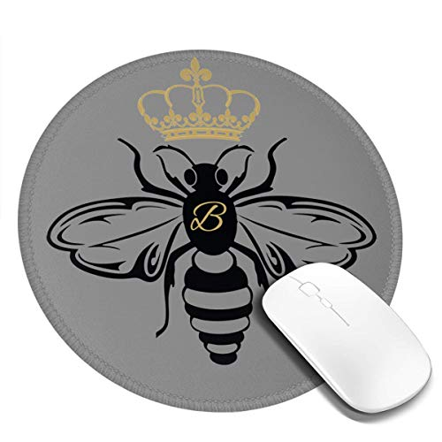 Queen Bee Round Mouse Pads with Stitched Edges, Circular Gaming Mouse Mat, Non-Slip Rubber Base Mousepad for All Types of Mouse Laptop Computer PC 7.87 X 7.87 Inches