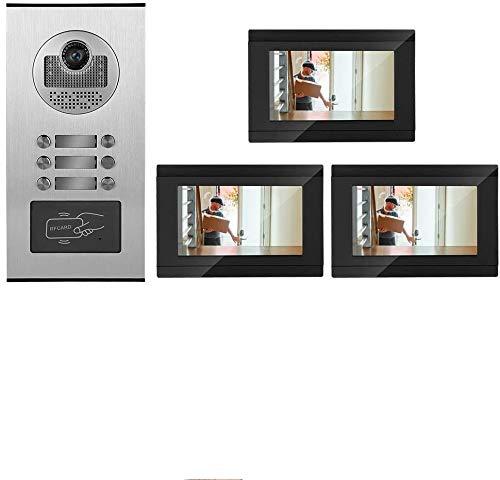 Videocitofono Trifamiliare, Wifi Intelligente Da 7 Pollici Videocitofono Campanello Sistema Di Controllo Accessi RFID Vivavoce Citofono A Doppia Via IR Visione Notturna Campanello (EU)