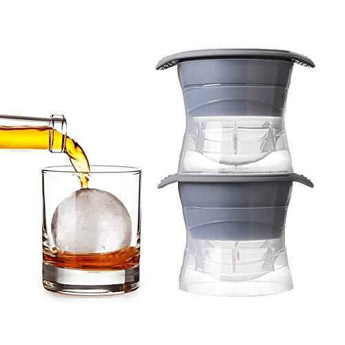 Moldes de gelo Sphere com tampa de silicone, esfera de 6,35 cm – Conjunto de 2 | Molde de gelo para fazer bolas de gelo para uísque de bourbon, coquetéis, bebidas e mais