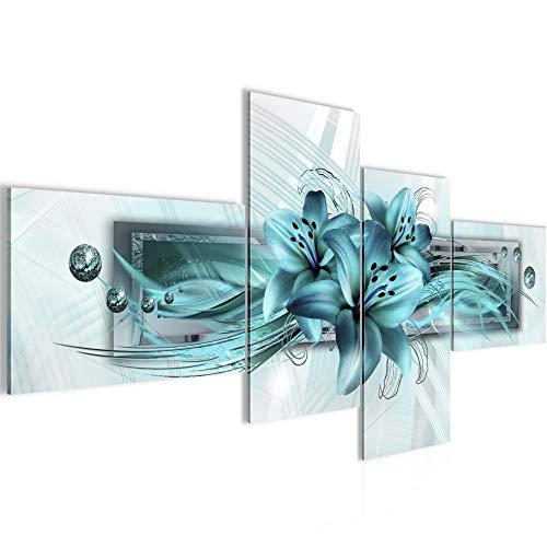 Vector de la decoración floral de la pared del lirio - 200 x 95 cm Vista de impresión en lienzo Salón Apartamento - listo para colgar - 008741a