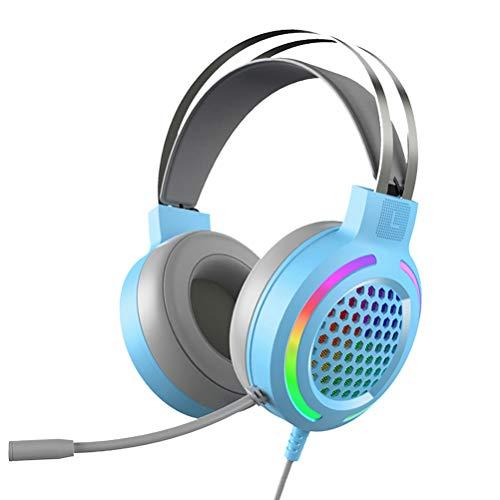 7.1 Cuffie da Gioco,Suono Surround Suono Stereo Cuffie Gaming per PS4, Cancellazione del Rumore Cuffie Over-ear con Microfono,Grandi Altoparlanti da 50m, RGB LED Colore, blu for PC MAC PS4