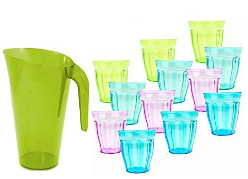 Pack 12 Vasos de 250ml de Colores y 1 Jarra de 1,5l de Agua plastico Reutilizable/inastillable, Duro, vajilla, Tazas, Copas, Vaso, niños, Infantiles, de Agua, cóctel, Fiesta libre de BPA(verde)