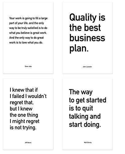 PICSonPAPER Poster 4er-Set Business Quotes ungerahmt DIN A4, Zitate von Jeff Bezos, Steve Jobs, John Lasseter und Walt Dinsey, Startup, Entrepreneur, Motivation (DIN A4, ungerahmt)