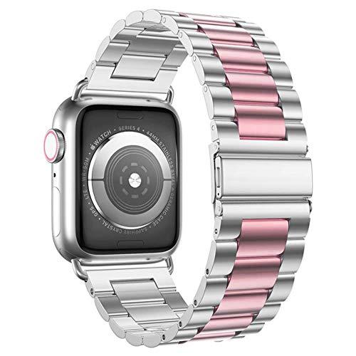 TIANQ Estuche + Correa para Apple Watch Band 44 Mm 40Mm Iwatch 42Mm / 38Mm Bracele De Metal De Acero Inoxidable para Apple Watch 5 4 3 38/40/42 / 44Mm, China, Plata Rosa