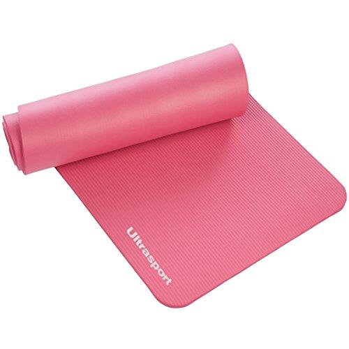Ultrasport Tapis de yoga, accessoire pour le sport, tapis pour le sport, tapis de fitness mou pour les pilates, le yoga, la gym, l'aérobic et les massages, tapis de yoga et d'exercice, sangle incluse