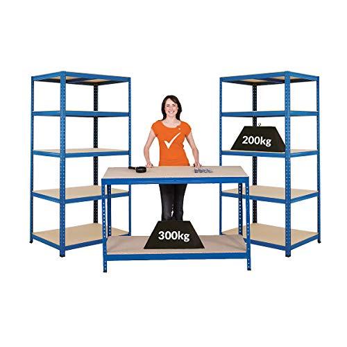 Certeo Mega Deal | Set aus 1x Werkbank (Tiefe 60 cm) und 2x Schwerlastregal (Tiefe 60 cm) | Metallregal Kellerregal Lagerregal Werkstattregal Garagenregal | Belastbar mit 1000 kg