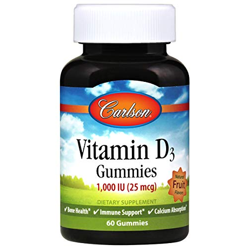 Carlson Labs Vitamin D3 Gummies, 1000 IU Natural Fruit, 60-Count