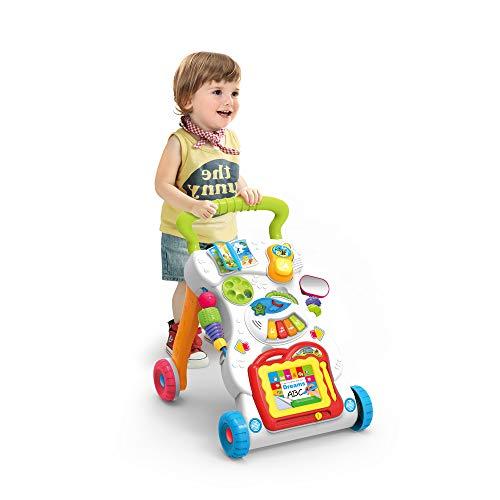 JINYJIA Primeros Pasos Bebé Actividad Andadores, Patrón Múltiple, Sentar & Jugar, Música...