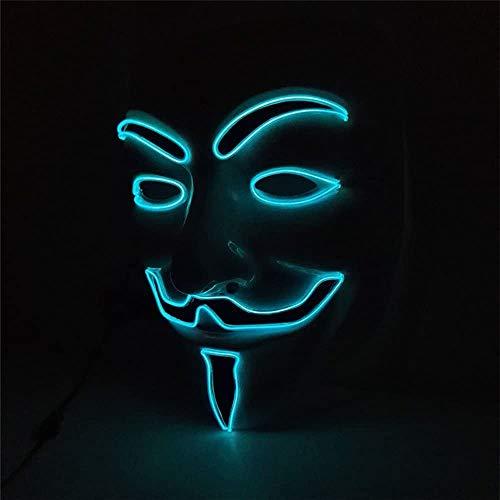 LSJZZ Máscara LED V para La Máscara De La Venganza EL Cable De Luz para Halloween...