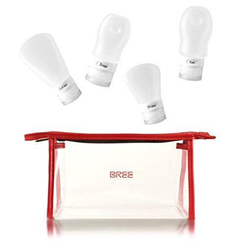 Aira BREE Kulturtasche transparent (rot) mit Wieder-befüllbaren Silikonflaschen/Kulturbeutel durchsichtig 1L Volumen/Handgepäck für Flugzeug/klarsicht Tasche/Kosmetikbeutel zum Fliegen