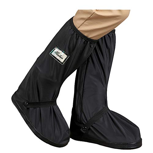 HLKZONE Waterproof Rain Boot Shoes Covers Foldable Reusable Slip Resistant Overshoes with Reflector for Women & Men (Black, XX-Large)