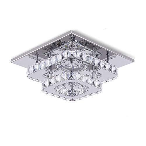 LED de Luz de Techo,Lámparas de Cristal, Acero inoxidable Cristal Lámpara Montaje en el techo para el dormitorio Comedor Pasillo 30cm 36W (blanca fría)