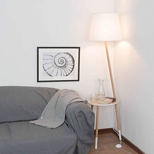 Dreibein Stehleuchte skandinavisches Design Holz Weiß Braun H 152cm E27 Trichter Schirm Stoff Standleuchte Wohnzimmer Couch Stehlampe