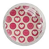 Pomos de cocina con diseño de corazones geométricos rosados, 4 unidades, redondos, de cristal, para gabinete de cocina con tornillos, para gabinete de cocina, con tornillos, para oficina en casa