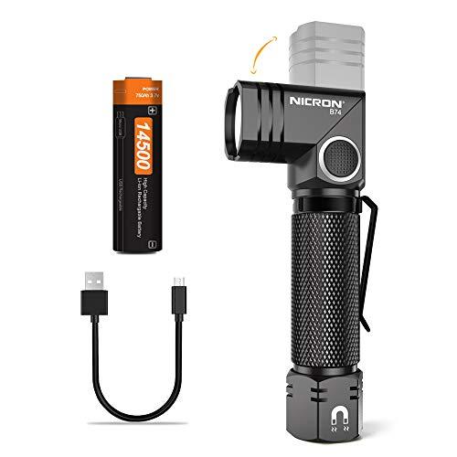 NICRON LED Taschenlampe Aufladbare IP65 Wasserdicht, 700 Lumen, 90 Grad Drehbar Kopf, Mini Wiederaufladbar Handlampe 5 Modi für Outdoor Camping Mit 14500 Batterie B74