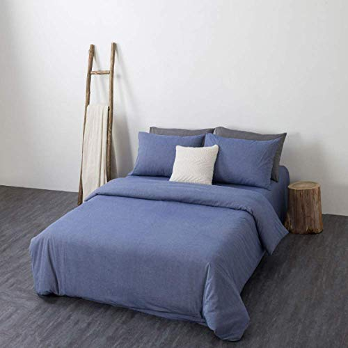 Bar Stools Single double duvet cover pillowcase bed pure cotton four-piece soft and comfortable bedding set denim blue