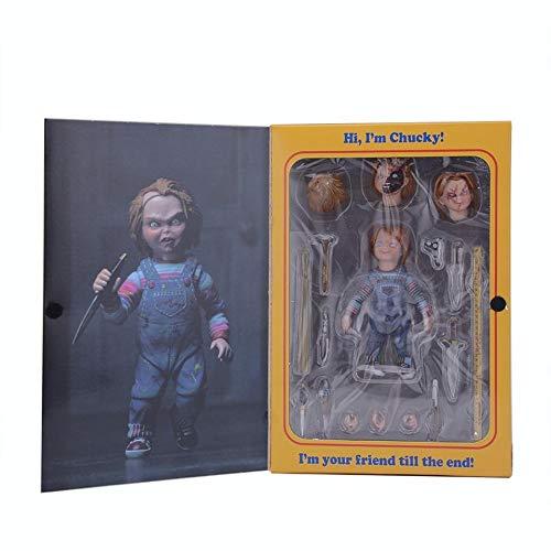 XKMY Figuras de acción zombi Figura de terror Juego infantil Chucky Movable PVC Figura de acción de película miedo Novia de Chucky Muñeca Juguetes Regalo para Halloween (color con caja)