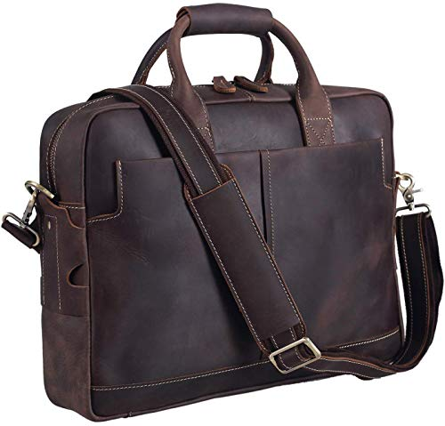 Texbo Genuine Full Grain Leather Men's 16 Inch Laptop Briefcase Messenger Bag Tote with YKK Metal Zippers (Update Version)